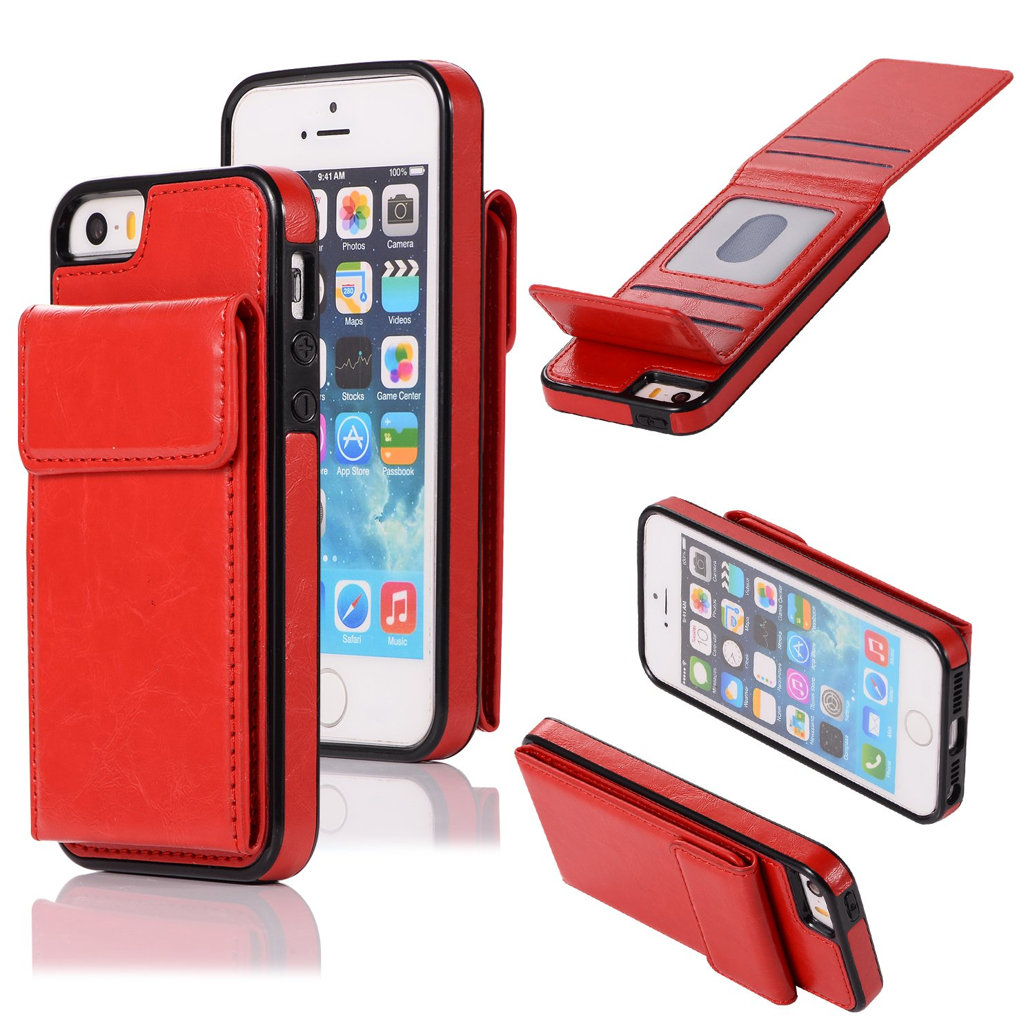 DAMONDY Wallet Case for iPhone 5S,iPhone 5,iPhone SE,Luxury Wallet Purse Card Holders Design Cover Soft Shockproof Bumper Folio Flip Leather Kickstand Case for iPhone SE 5S 5-red by DAMONDY