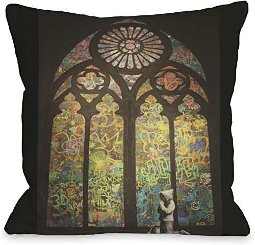 One Bella Casa Stained Glass Graffiti Throw Pillow by Banksy, 16 x 16 , Black Multi