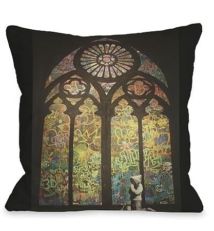 Amazoncom One Bella Casa Stained Glass Graffiti Throw Pillow By - Graffitis-en-casa
