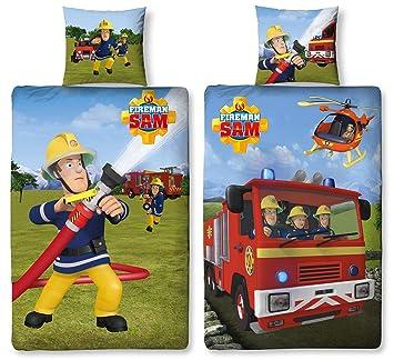 Character World Wende Bettwäsche Feuerwehrmann Sam 135 X 200 Cm 80 X 80 Cm 100 Baumwolle 2 Motive Auf Einer Bettwäsche 100 Baumwolle