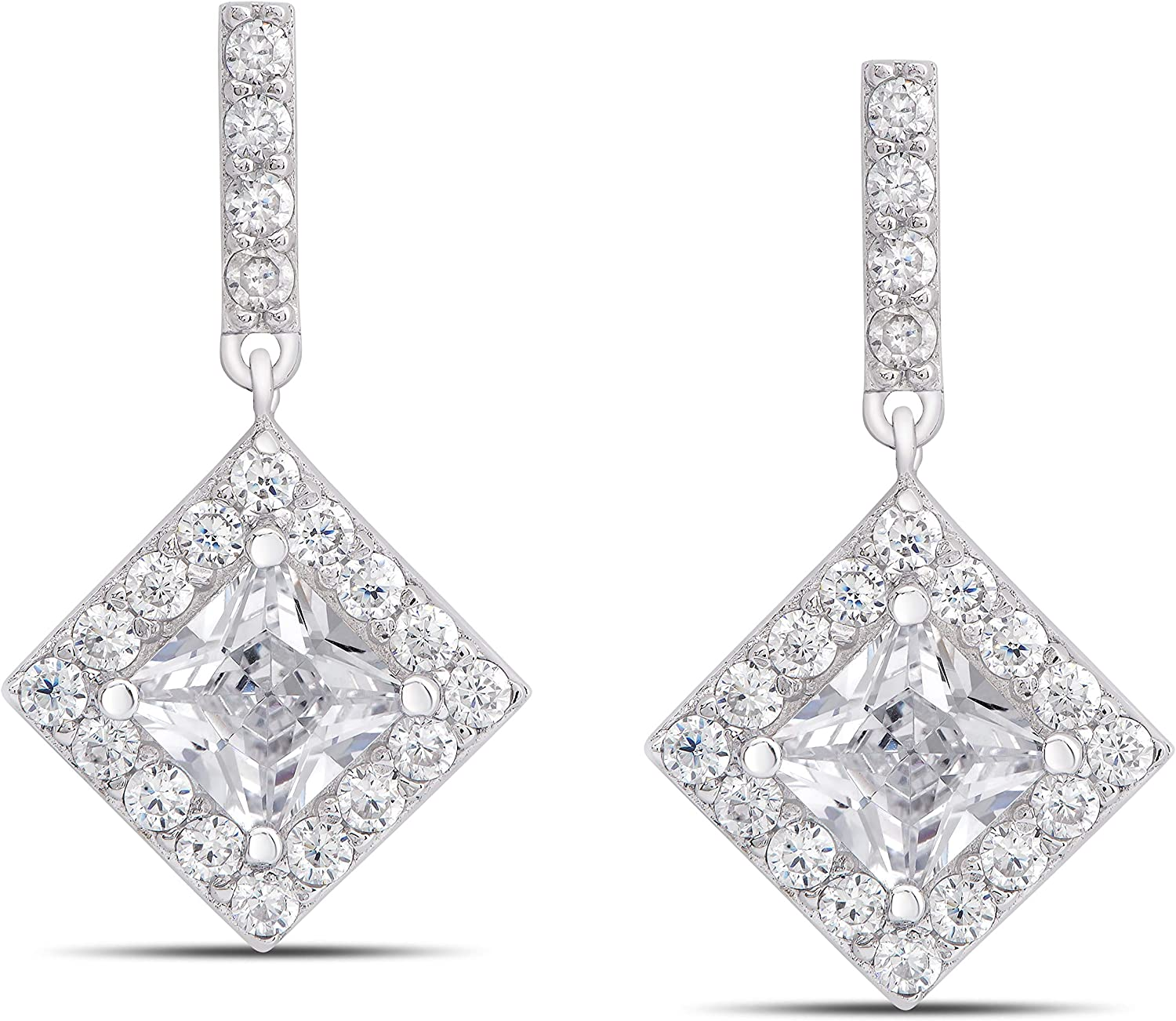 Round Cut 1mm Aaa White Cubic Zirconia 925 Sterling Silver Earrings