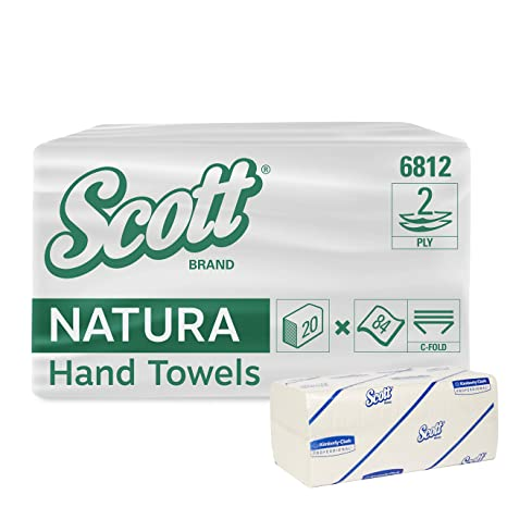 Scott 6812 Toallas Secamanos Plegadas en C, 84 Toallas Grandes, 2 Capas por Paquete