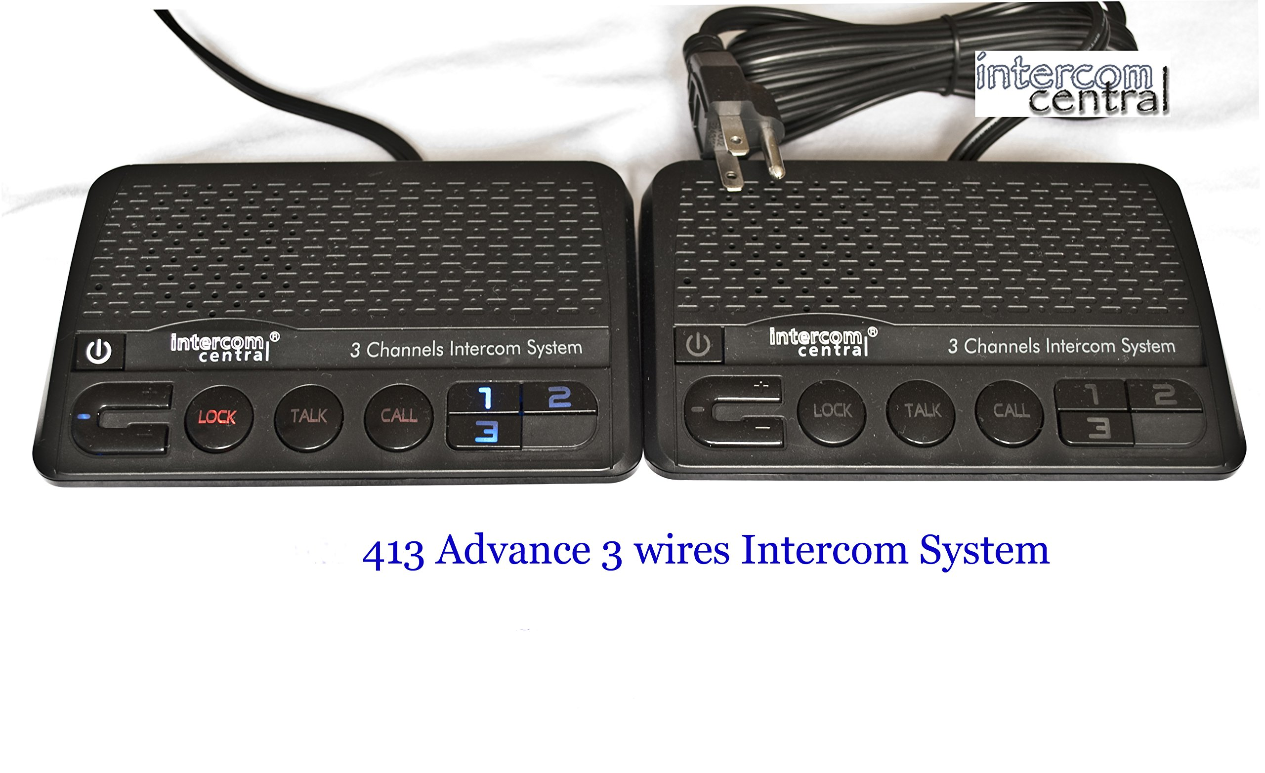 Intercom Central 413 - Three Channels HOME Power-line Intercom System, 3 Wire, Black, Two Stations Set