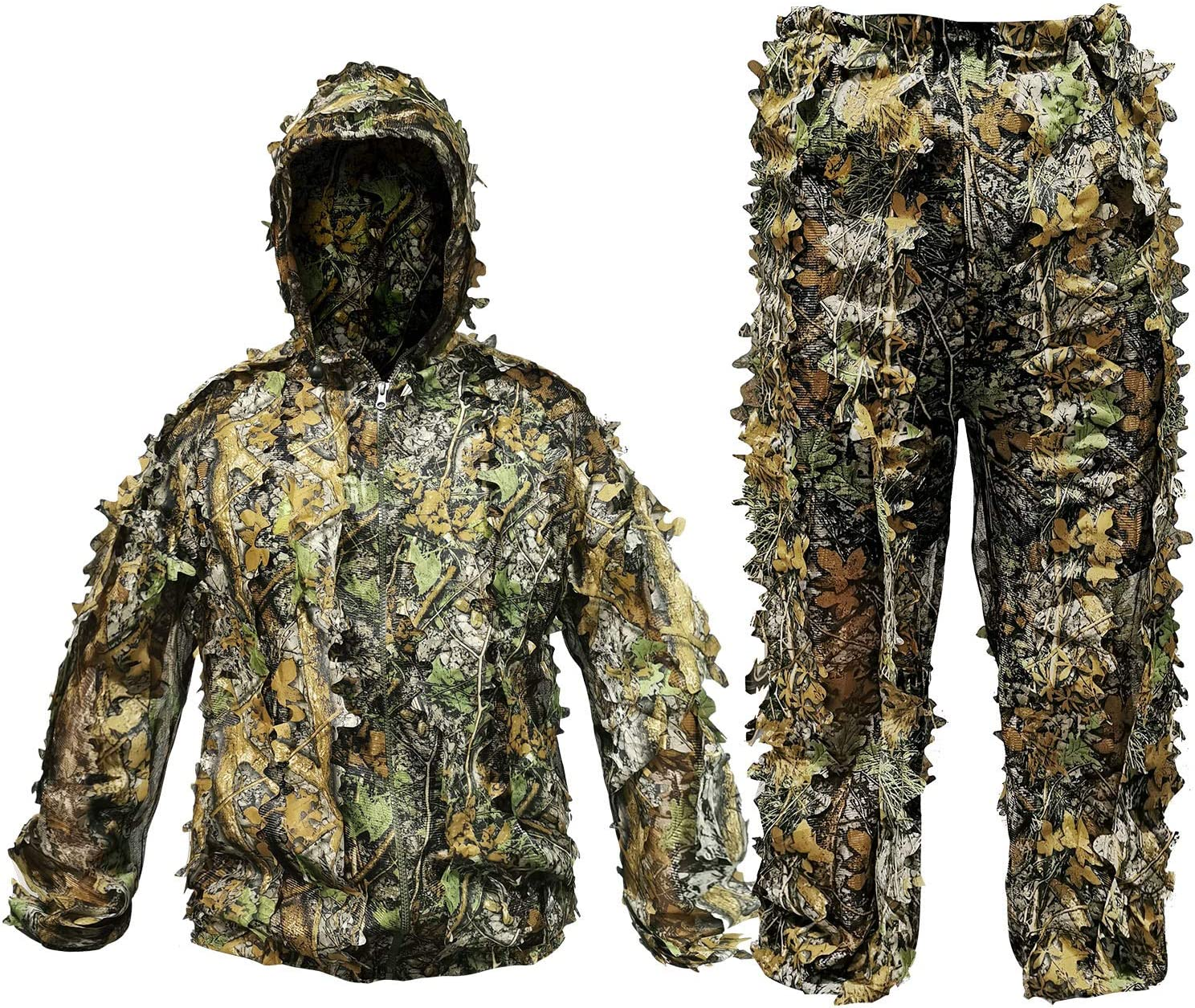 POWLIFE Ghillie Suit Camouflage Hunting Suits Outdoor 3D Leaf Lifelike Camo Clothing Lightweight Breathable Hooded Apparel Suit for Jungle Shooting Airsoft Woodland Photography : Clothing