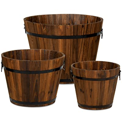 Best Choice Products Set of 3 Wooden Bucket Barrel Garden Planters Set Rustic Decorative Flower Beds for Plants, Herbs, Veggies w/Drainage Holes, Multiple Sizes, Indoor Outdoor Use: Kitchen & Dining