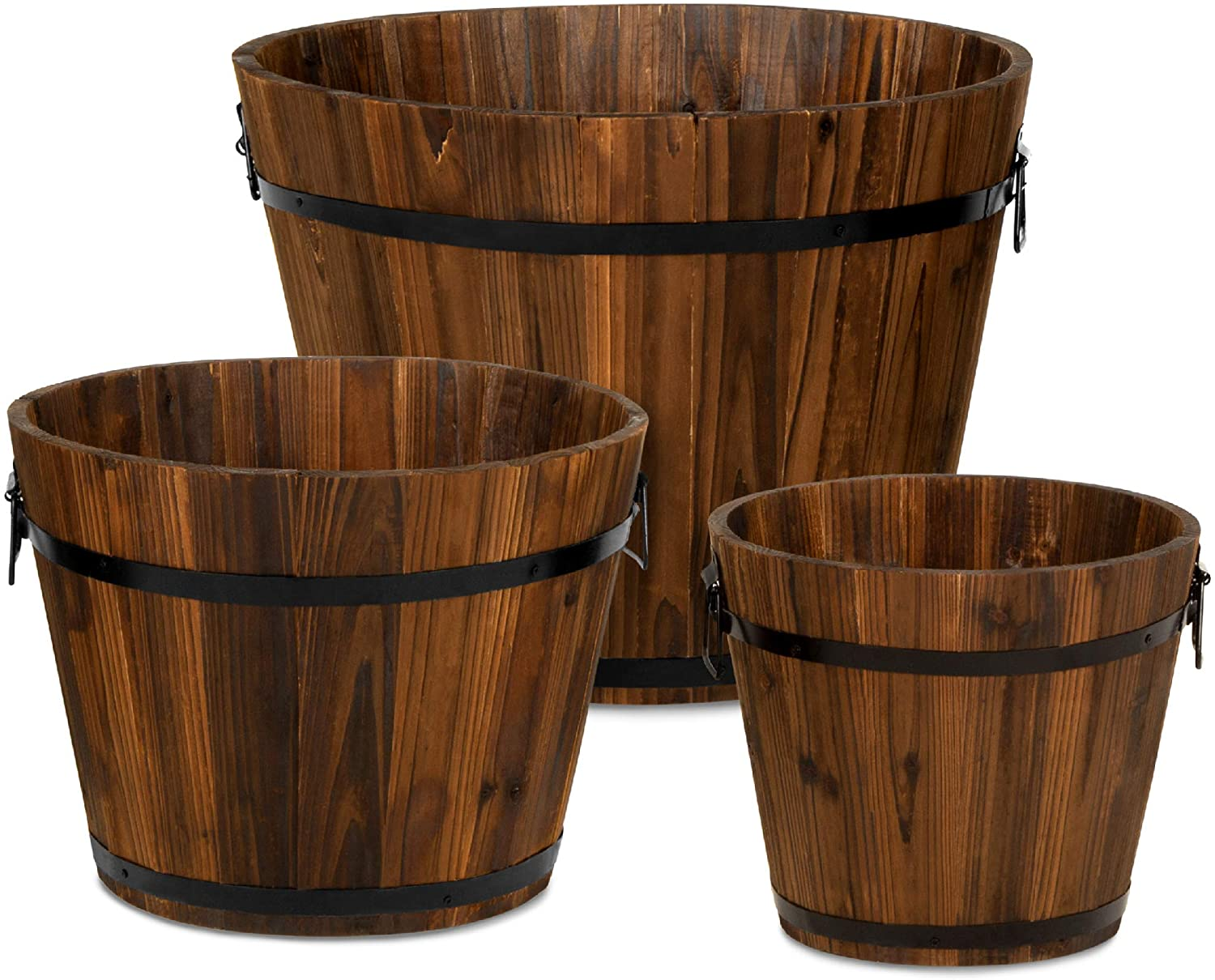 Best Choice Products Set Of 3 Wooden Bucket Barrel Garden Planters Set Rustic Decorative Flower Beds For Plants Herbs Veggies W Drainage Holes Multiple Sizes Indoor Outdoor Use Kitchen Dining