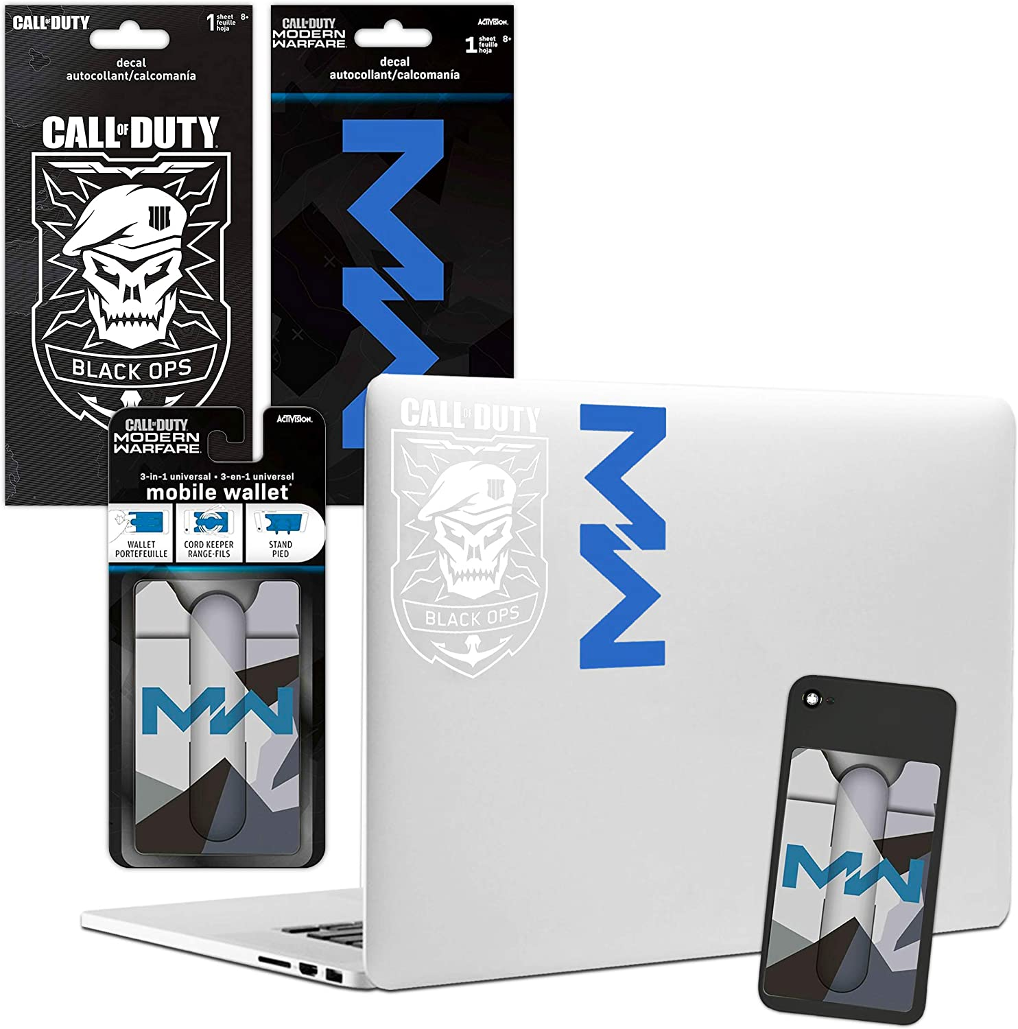 3 Pc Video Game Decal Set Call of Duty Stickers with Call of Duty Wallet for Boys Girls Call of Duty Room Decor Bundle Video Game Party Supplies