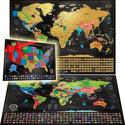 Dos Mapas De Rascar - Mapa Mundi Rascar Y Mapa Estados Unidos. Pósteres Rascables De Viaje, De Gran Calidad, Para Adultos O Niños. Hechos En Europa.: MAPS INNOVATIONS LTD: Amazon.es: Oficina y
