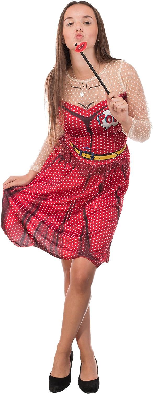 Mujer Disfraz – Pop Art – Vestido con pelo maduro y beso accesorio ...