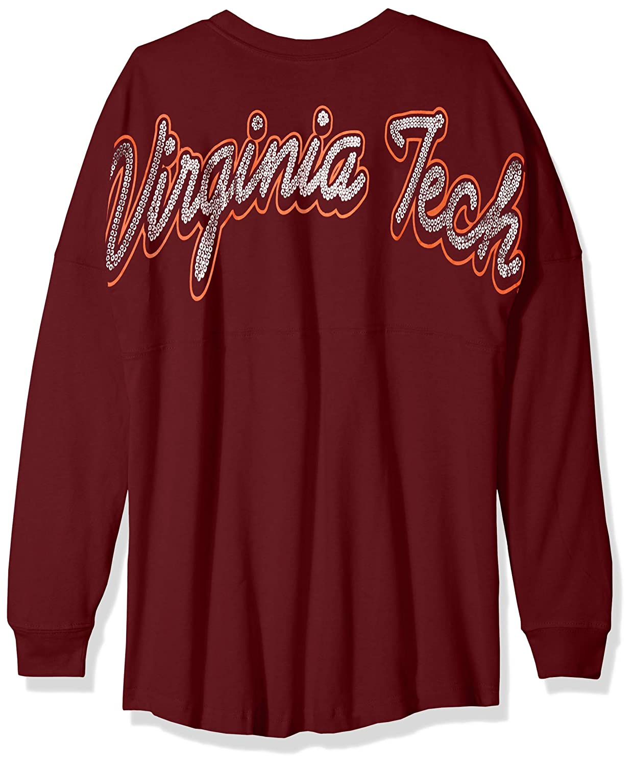 X-Small NCAA Virginia Tech Hokies Womens NCAA Womens Long Sleeve Mascot Style Teeknights Apparel NCAA Womens Long Sleeve Mascot Style Tee Maroon