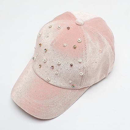 Versión coreana de la perla de pana decorativa gorra de béisbol 2018 otoño. Pasa el ratón por ...
