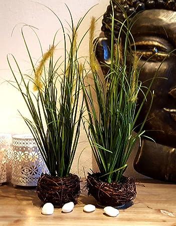 LB H&F 2er Set künstliches Gras Kunstgras als Dekopflanze mit Weidennest Deko PO
