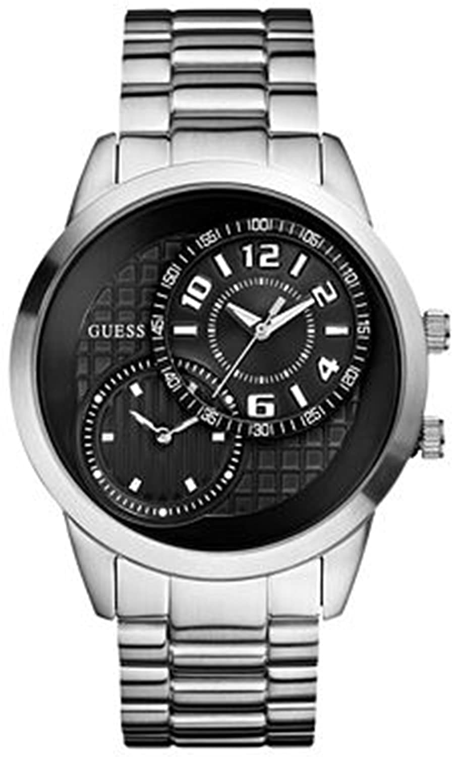 Amazon.com: Guess Mens U13616G1 Silver Stainless-Steel Quartz Watch with Black Dial: Guess: Watches