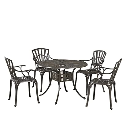 Outstanding Largo Taupe 5 Piece Outdoor Dining Set With 42 Table And Four Arm Chairs By Home Styles Gmtry Best Dining Table And Chair Ideas Images Gmtryco