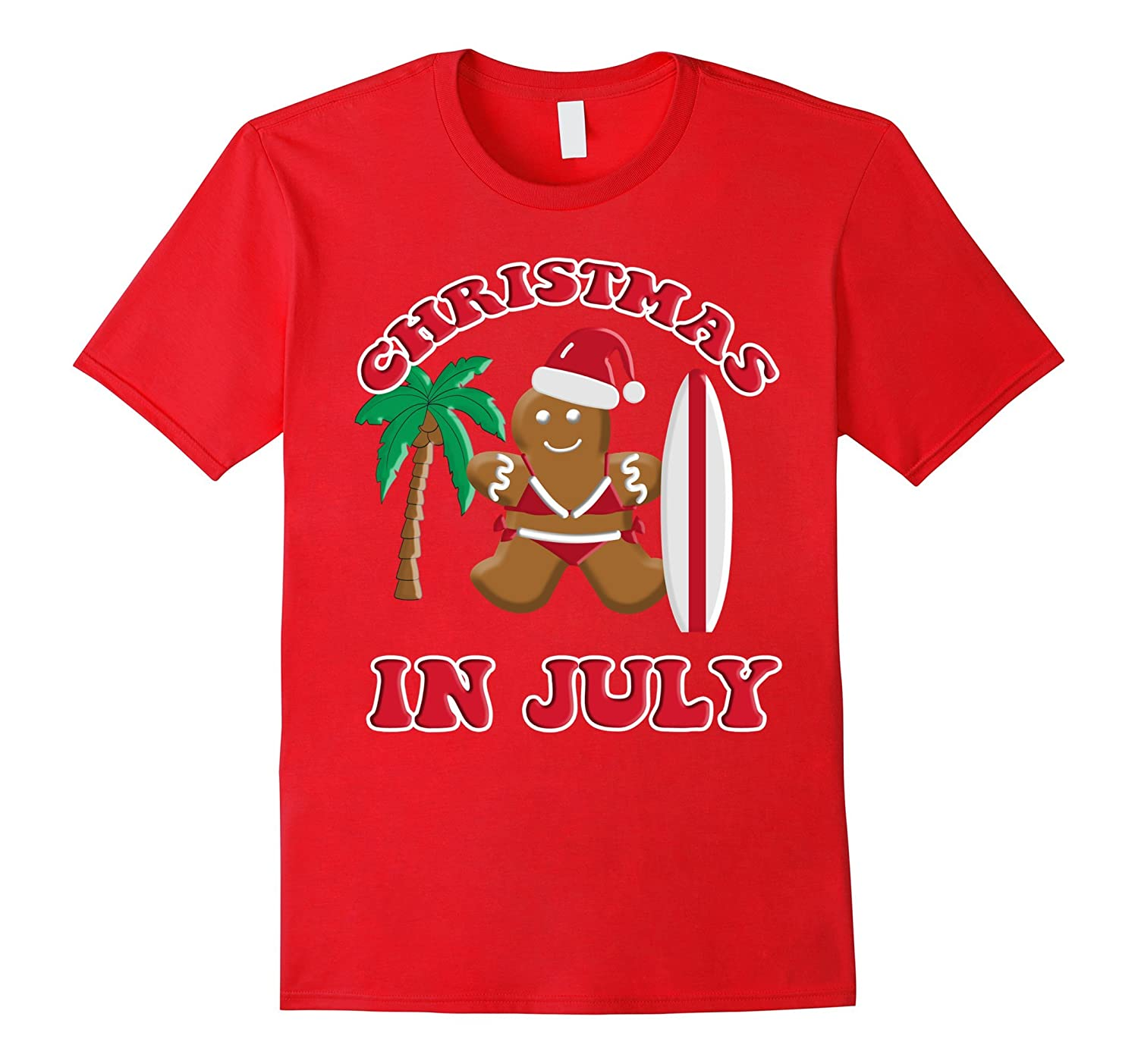 Christmas In July Gingerbread Cookie Bikini Surfboard Tee