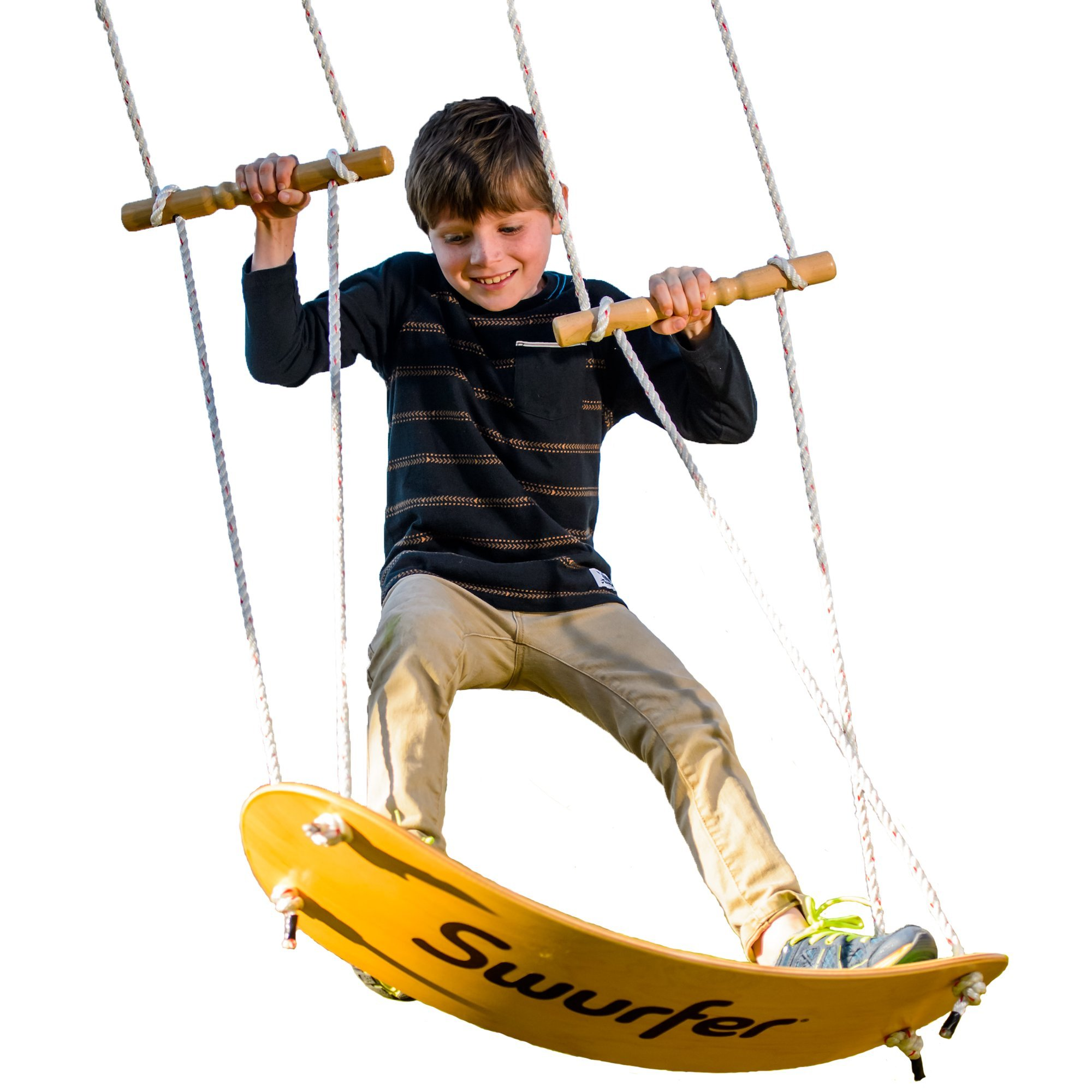 The Swurfer Original Tree Swing with Skateboard Seat Design and Adjustable Handles
