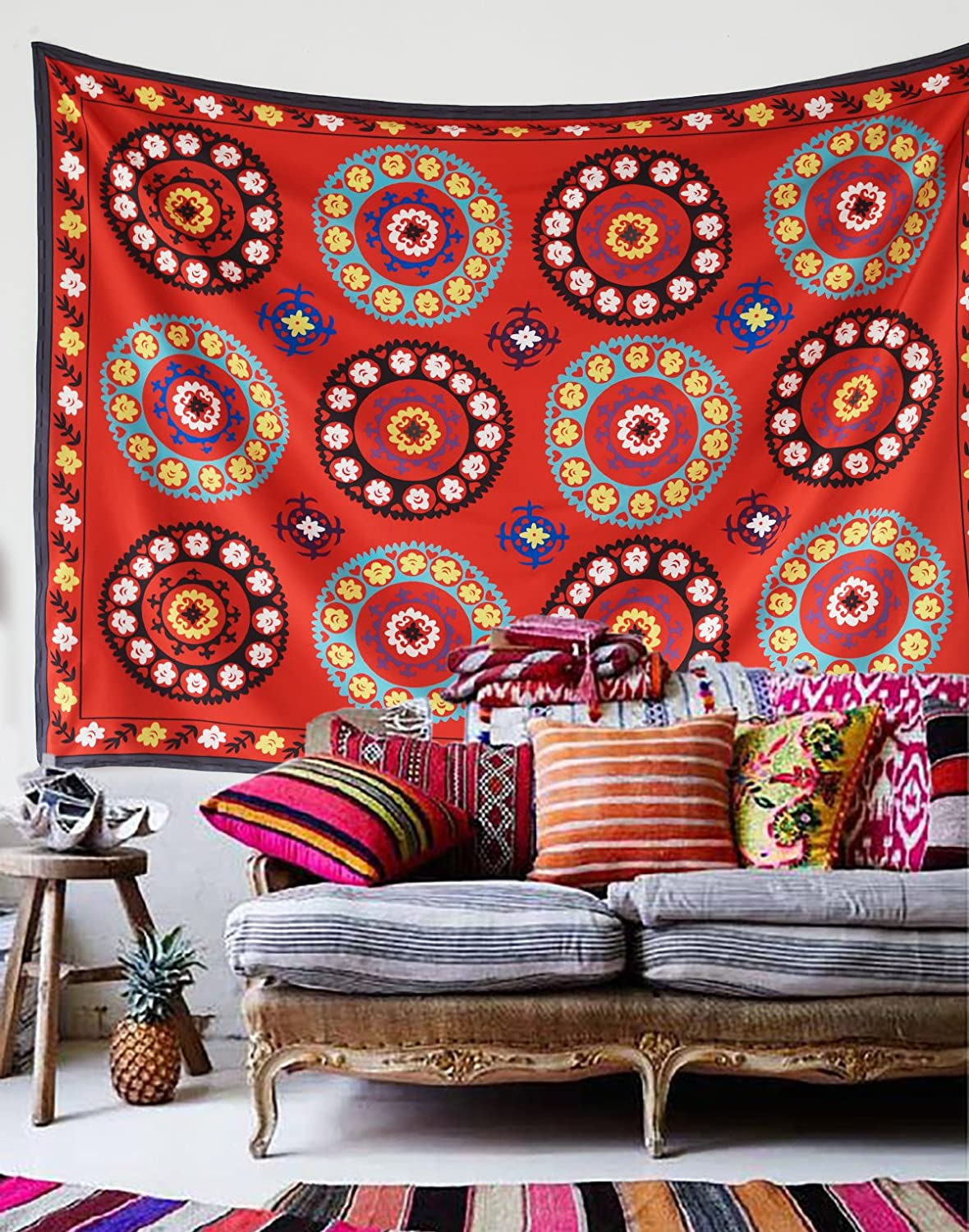 """Uzbek Suzani Morocco Wall Tapestry Red Wall Hanging Floral Wall decor Home Decor,60""""x 80"""",Twin Size"""