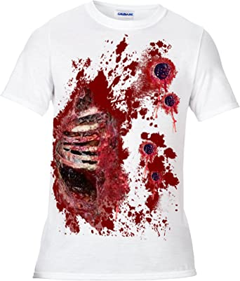 ZOMBIE HANDS LADIES PRINTED T-SHIRT TOP BLOOD HALLOWEEN COSTUME FANCY DRESS