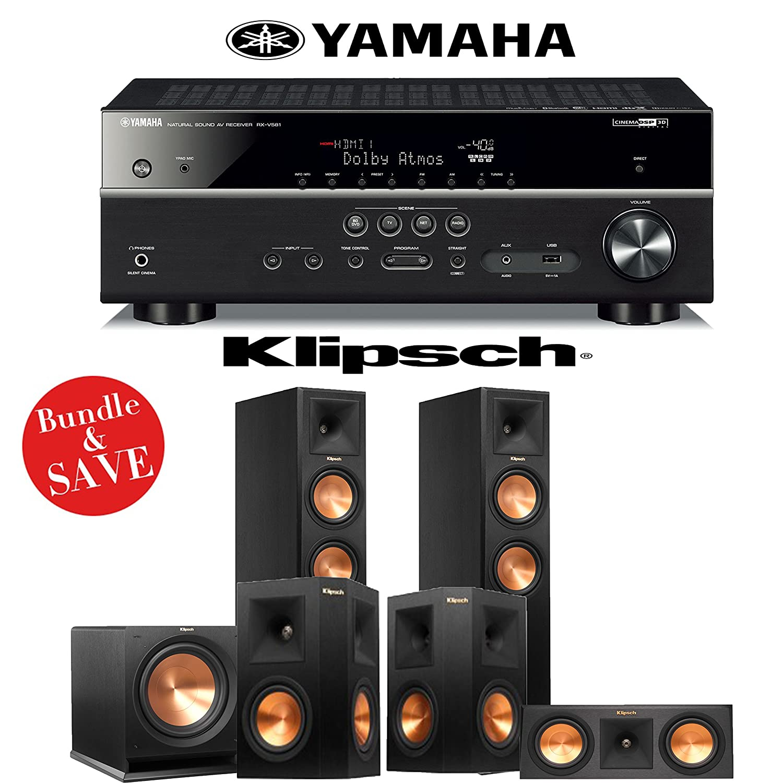 Klipsch rp-260 F参照Premiere 5.1ホームシアターシステムwith Yamaha rx-v581bl 7.2-ch A/V受信機 B01HMPMHCE