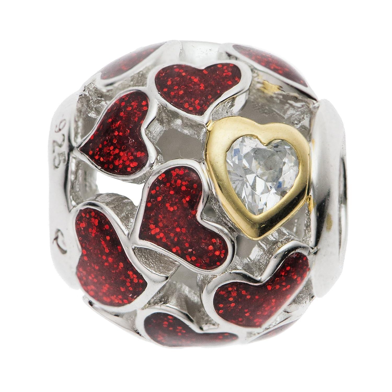 Rhodium On 925 Sterling Silver Lover Heart Infinity Love Enamel European Style Bead Charm PA2354RHX1