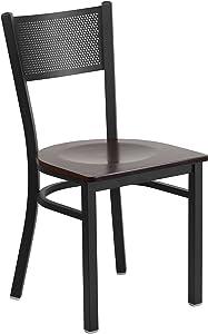 Flash Furniture HERCULES Series Black Grid Back Metal Restaurant Chair - Walnut Wood Seat