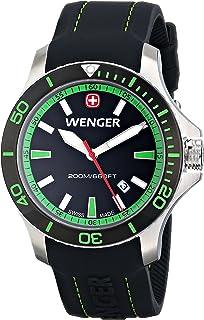 Wenger Mens 01.0641.108 Sea Force 3H Analog Display Swiss Quartz Black Watch