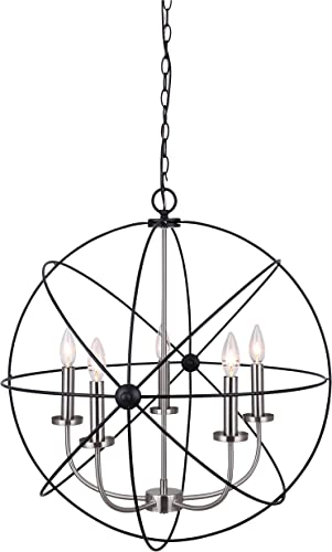 Canarm Summerside 5 Light Chain Chandelier – Black with Brushed Nickel Finish