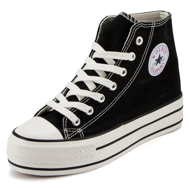 High Ankle Black Canvas Sneaker Shoe