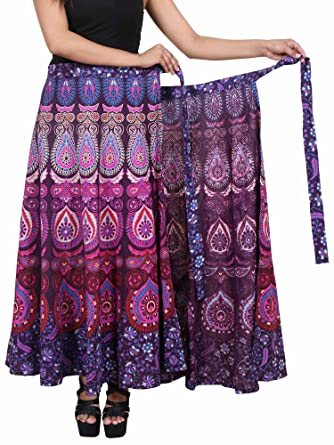 """9c69ccef84 Jaipur Skirt Women's Traditional and Stylish Cotton Printed Wraparound Skirt  (""""Assorted Colors and Assorted"""