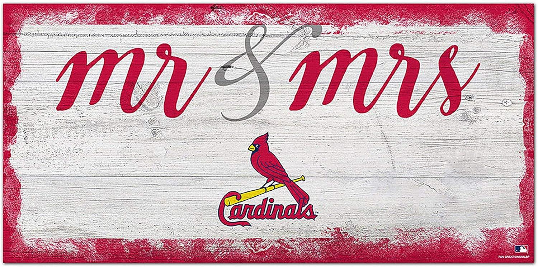 Fan Creations MLB St. Louis Cardinals Unisex St. Louis Cardinals Script Mr & Mrs Sign, Team Color, 6 x 12