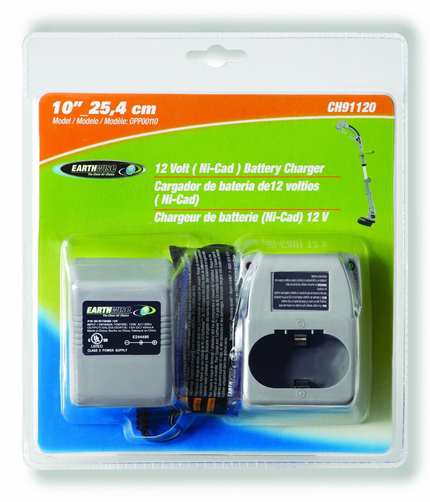 Earthwise CH91120 12-Volt NiCad Charger For Model OPP00110 10-Inch 12-Volt Cordless Electric String Trimmer
