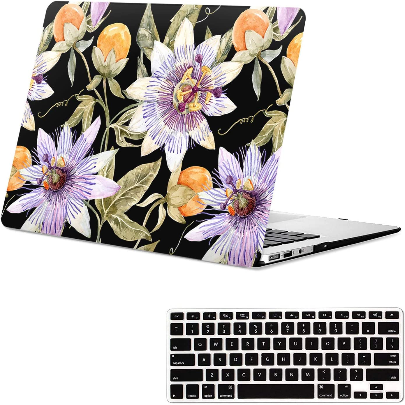 Lapac Black Case Compatible with Macbook Air 13.3 Inch Case A1466 A1369 Older 2010-2017 Release, Vintage Flower Pattern Hard Shell Case with Keyboard Cover, for Macbook Air A1466/A1369 Protective Case
