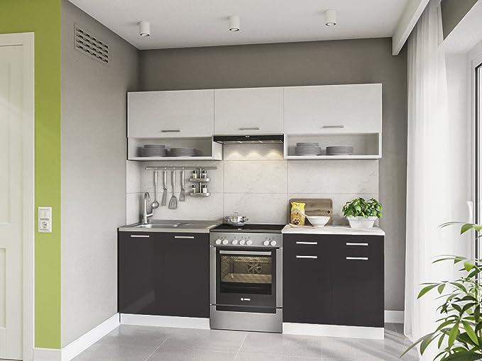 Eldorado möbel küche lux 220 cm schwarz küchenzeile küchenblock einbauküche komplettküche amazon de küche haushalt