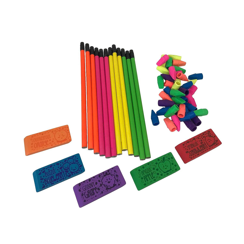 子供用鉛筆と消しゴムのセット : 鉛筆 香り付き消しゴムと鉛筆トップ消しゴム付き アソートカラー B07MCGF5H8