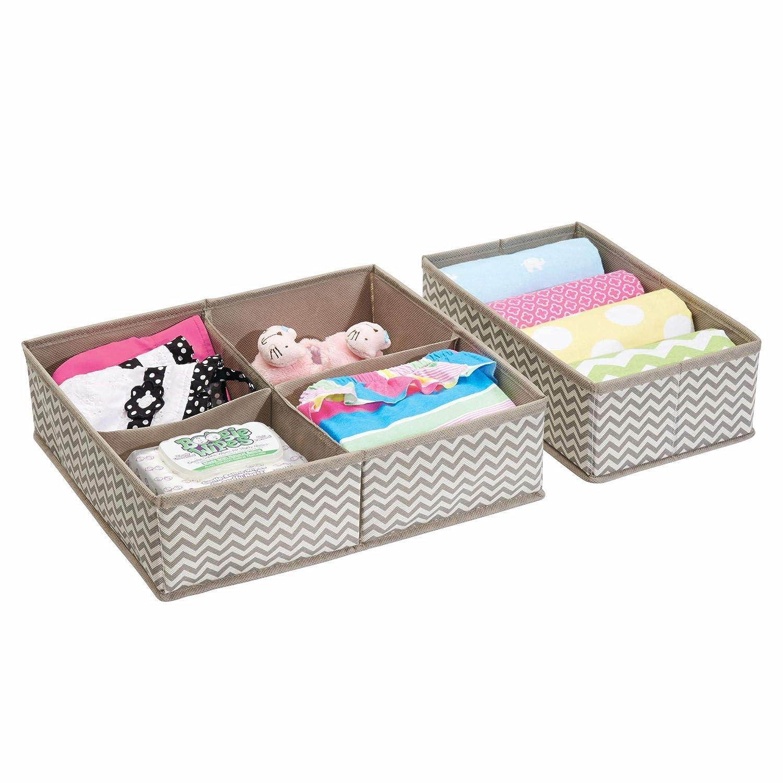 mDesign Organizer cassetti baby e neonato – Ideale divisorio cassetto per la cameretta e gli armadi dei bambini – Set da 2 scatole portaoggetti con 5 scomparti – Materiale traspirante MetroDecor