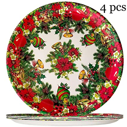 Christmas Plate Set.Christmas Dinner Plates Set Christmas Tree Melamine Plate 11 Inch Shatter Proof And Chip Resistant Dinnerware Set Of 4 Christmas Party Supplies