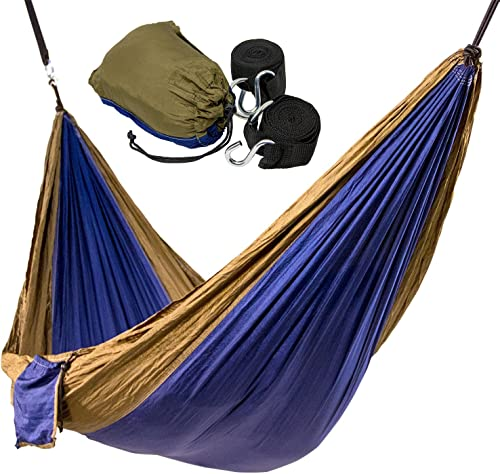 Camping or Campus Hammock Ultra-Light Portable Nylon Parachute Hammock with 2 Free Hammock Straps Perfect for Campus, Backpacking, Beach, Indoor or Outdoor