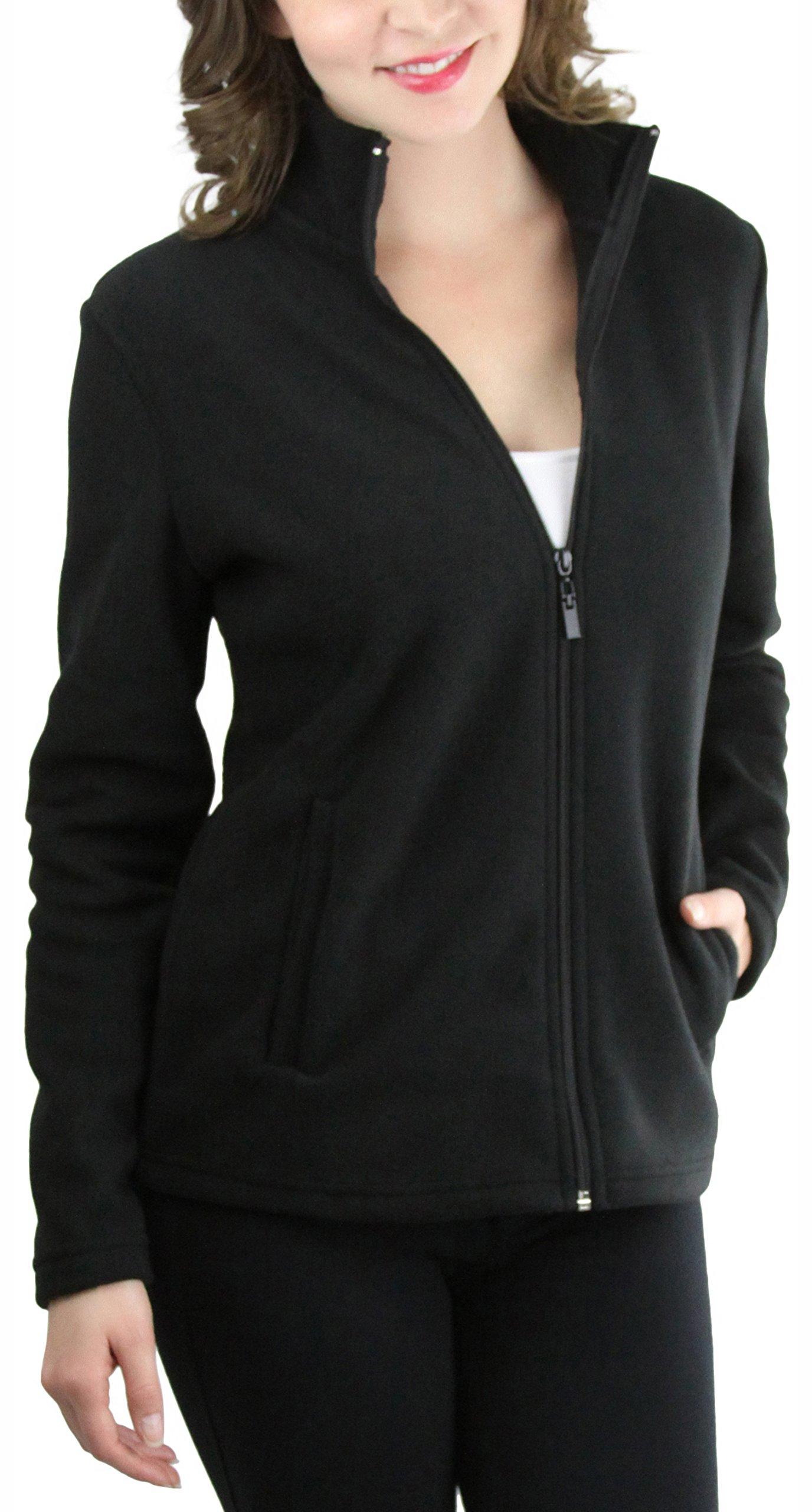 ToBeInStyle Women's Zip High Collar Polar Fleece L.S. Jacket - Black - Large