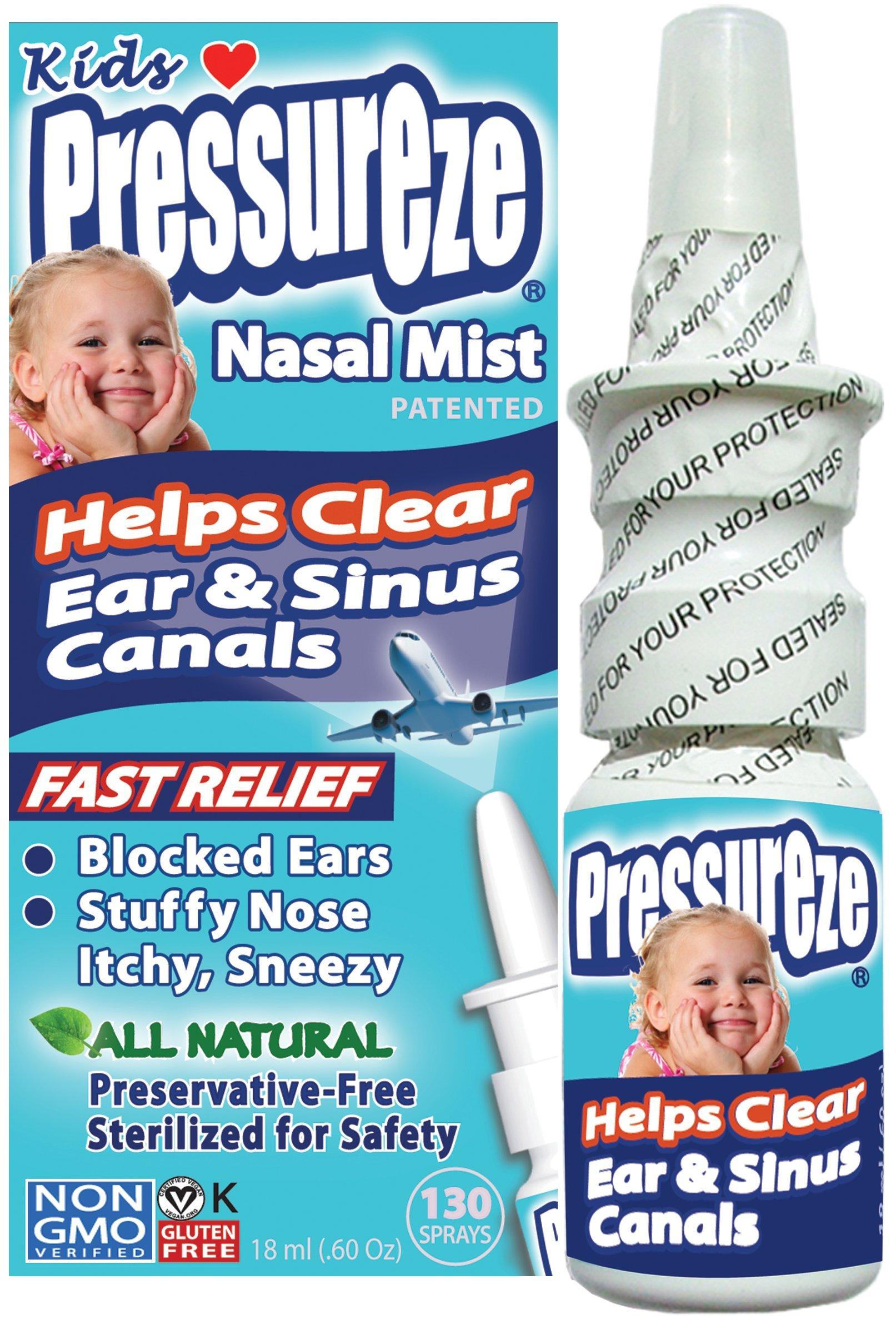 Pressureze Nasal Mist for Kids - 0.6 OZ - All Natural, Drug Free, Preservative Free, BPA Free, Sterile, Contamination Free, NON GMO, Vegan, Gluten Free