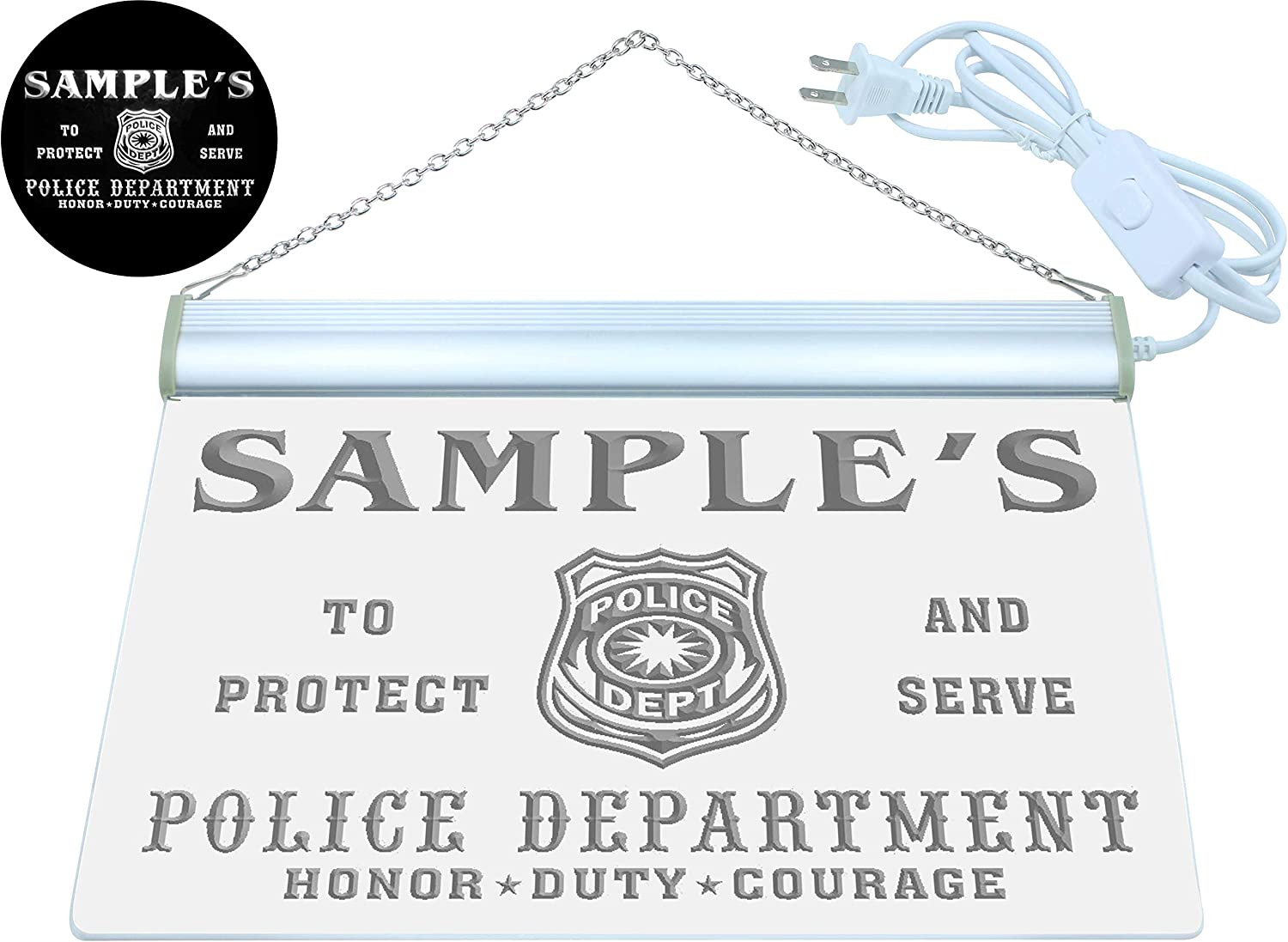 Name Personalized Custom Police Station Badge Bar Beer Neon Sign White 24x16 inches st4s64-tk-tm-w