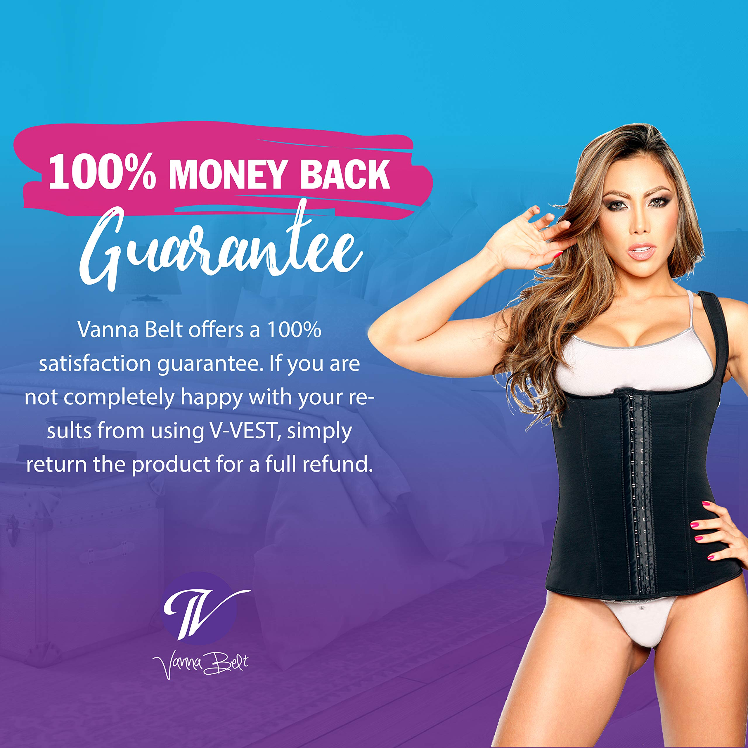 Vanna Belt Waist Trainer V-VEST Waist and Back Trimmer - XXL - Instantly Slims Midsection 2-3 Inches While Wearing Product, Lifts and Supports Busts, Helps Correct Posture by Vanna Belt (Image #6)