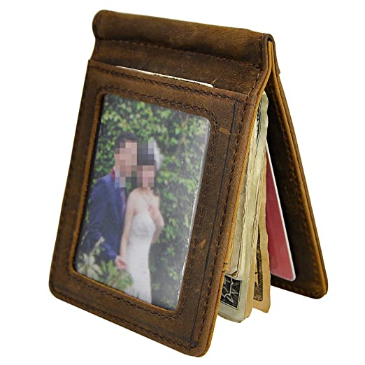 c374783c3ce6 Le aokuu Mens Leather Small Designer Coin Magnetic Slim Money Clip Card  Case Holder Front