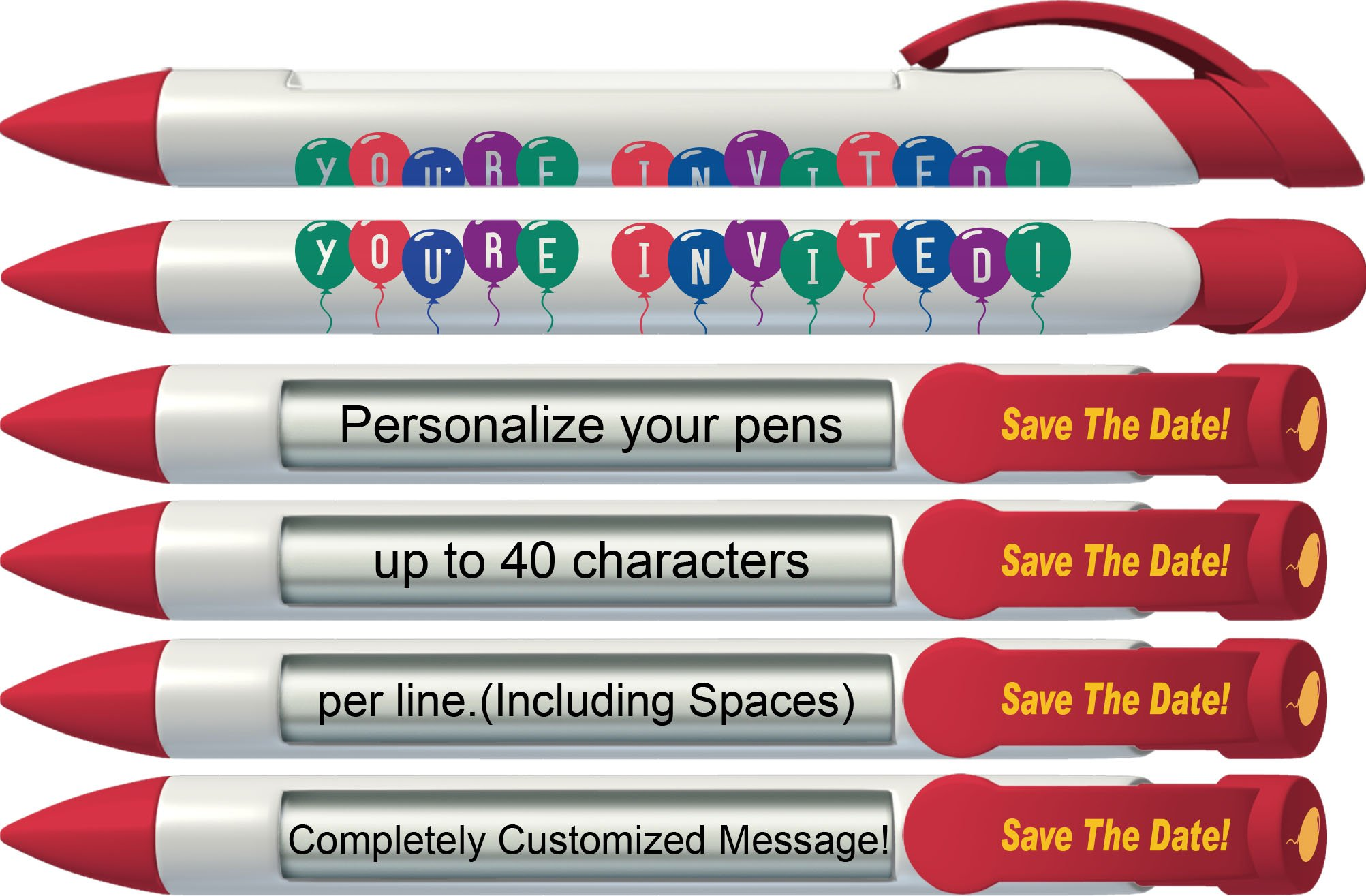 Party Pen by Greeting Pen- Personalized Invitation Rotating Message Pen -100 pack- P-PP-118-100