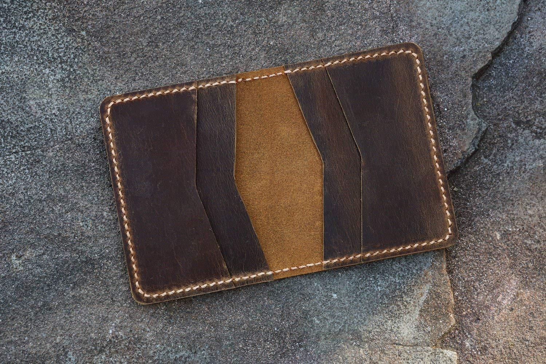 Personalized leather credit card holder//Slim cash change wallet//vintage retro leather card case C054CF