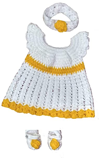 5097c6b1c82d BabyBlossom Hand Made Woolen Frock for New Born Baby Girls with Hair ...