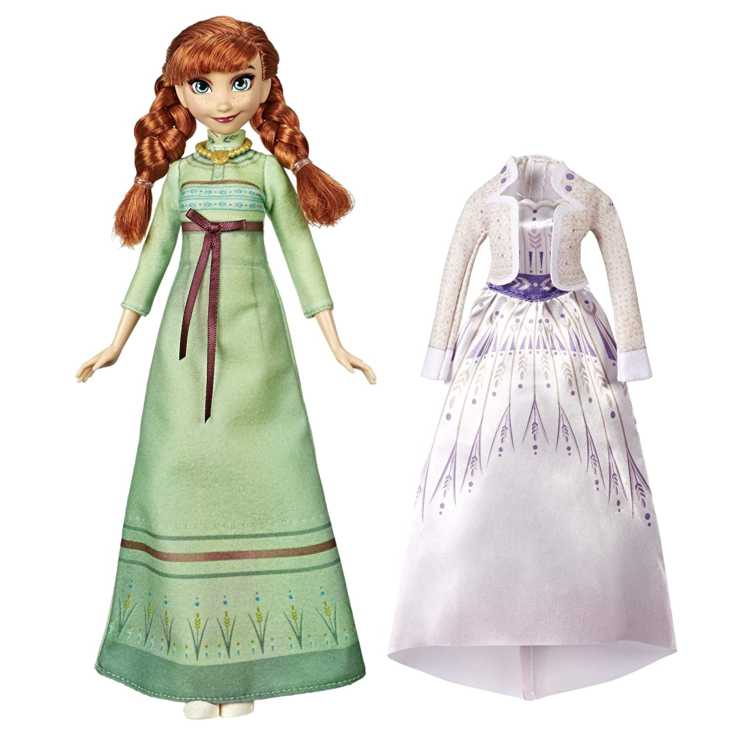 Disney Frozen Arendelle Fashions Anna Fashion Doll with 2 Outfits, Green Nightgown & White Dress Inspired by the Frozen 2 Movie - Toy For Kids 3 Years ...