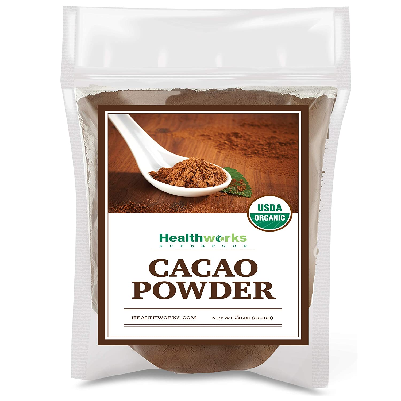 Healthworks Cacao Powder (80 Ounces / 5 Pounds)   Cocoa Chocolate Substitute   Certified Organic   Sugar-Free, Keto, Vegan & Non-GMO   Peruvian Bean/Nut Origin   Antioxidant Superfood