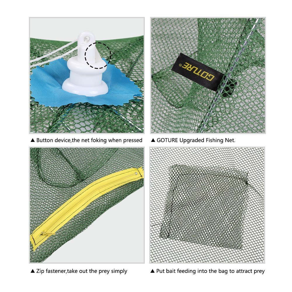 Goture Portable Folded Fishing Net Fish Shrimp Minnow Crayfish Crab Baits Cast Mesh Trap Automatic 6 Sides 12 Holes
