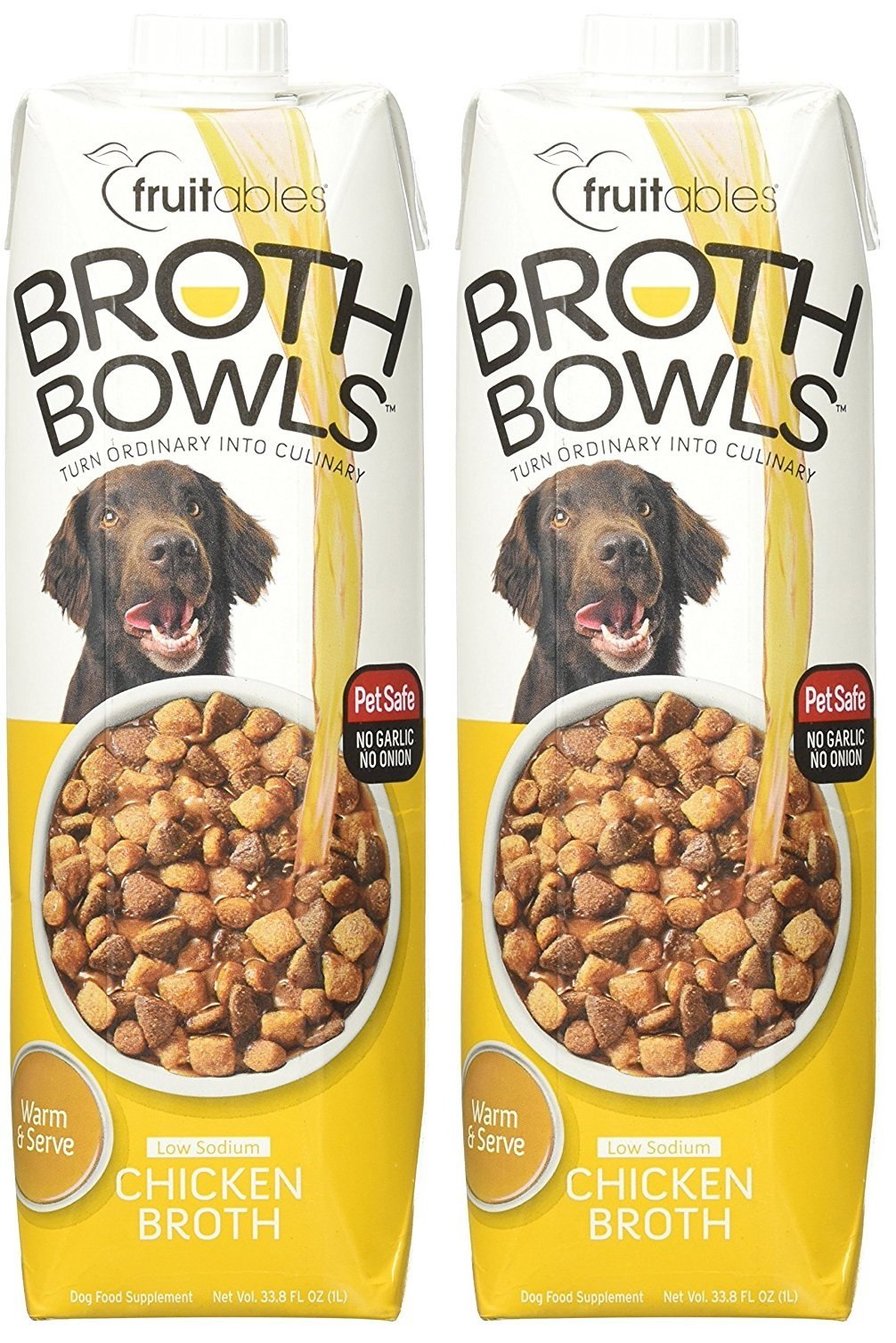 (2 Pack) Fruitables Broth Bowls Pet Safe Natural Chicken Food Topper Low Calorie Sodium by Fruitables