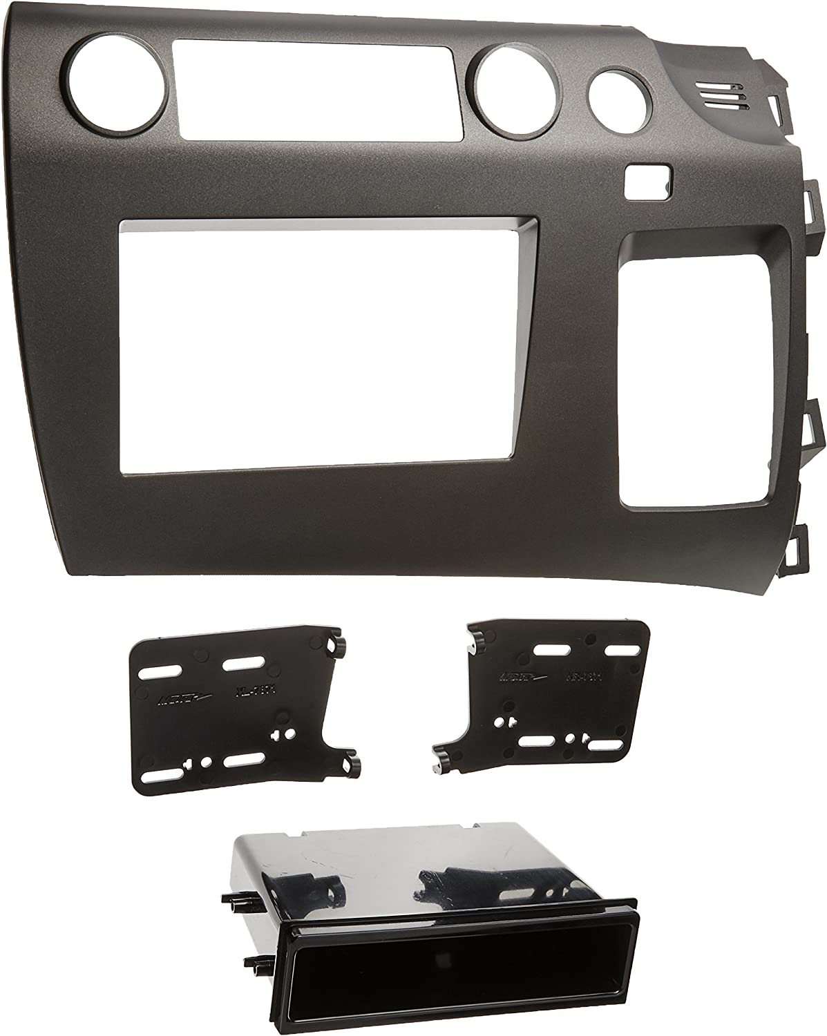 Metra 99-7871 Single DIN//Double DIN Installation Kit for 2006-2009 Honda Civic Vehicles Charcoal Grey